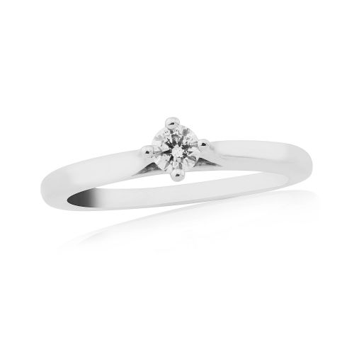 Solitaire Single Stone Four Claw Engagement Ring White Gold 15 Points